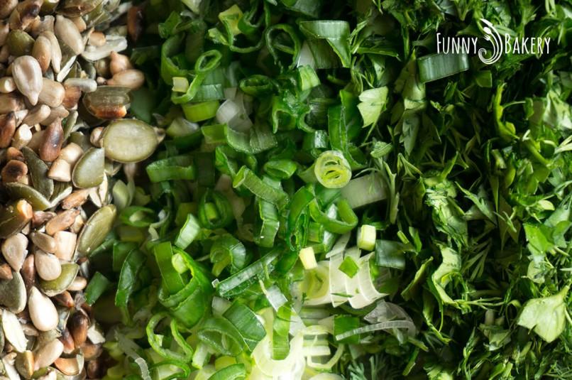 Моите зеленчукови кюфтенца - нарязани продукти