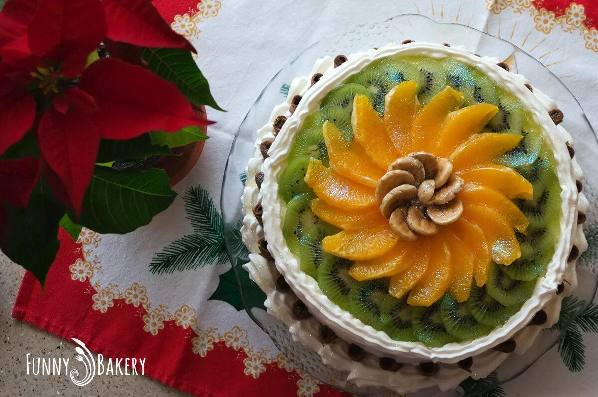 Цитрусова – плодова торта - отгоре - цяла