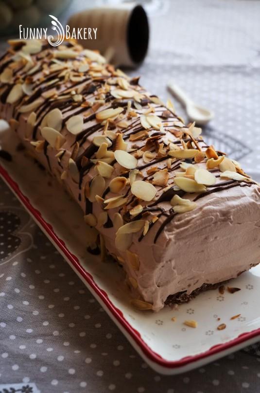Какаово руло с течен шоколад - диагонал