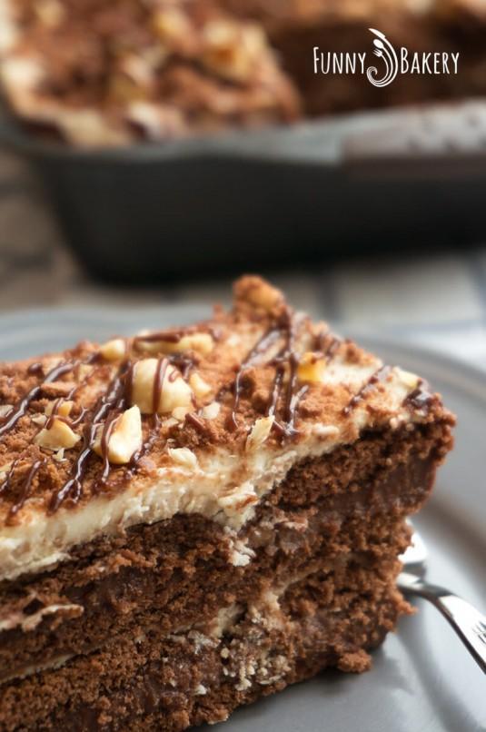 Бисквитена торта с Нутела - парче